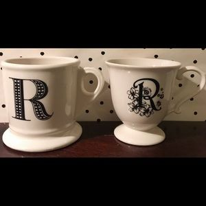 Anthropologie Set 2 monogram initial mug r